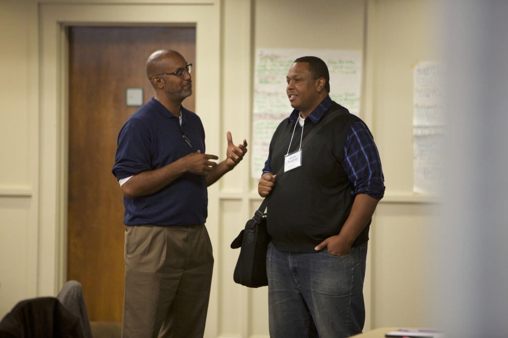 David Anderson Hooker having a side conversation during a JustPeace 101 training in 2013